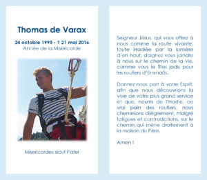 Thomas de Varax mini carte prière à Jésus